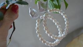 Серебряные серьги - кольца с перламутром и жемчугом ′Фортуна′