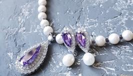 Комплект  з натуральних перлів та кристалів циркону кольє та сережки
