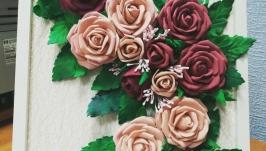 Картина цветами из фоамирана