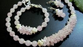 Комплект украшений из розового кварца и речного жемчуга ′Цветенье сакуры′