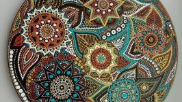 тарілка декоративна ′Шоколадно-бірюзові варіації′