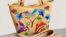 Кожаная сумочка ′Райские птички-3′