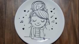 Стильная сувенирная декоративная тарелка для девочек, ручная роспись