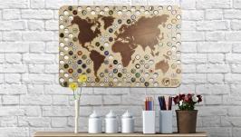 Карта Мира на стену для пивных крышек CAPSBOARD WORLD