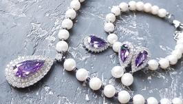 Комплект  з натуральних перлів та кристалів циркону кольє браслет сережки