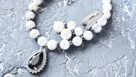Комплект  з натуральних перлів браслет та сережки з цирконами