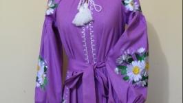 Для любителей ромашек платье вышитое в стиле Бохо на 100 льне