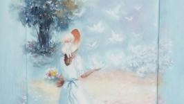 Картина маслом ′Прогулка′ с несъемной рамкой