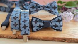Комплект Подтяжки и Бабочка сине-голубой