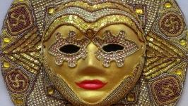 Карнавальная интерьерная маска ′Золотое солнце′