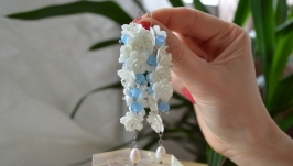 Серьги - грозди с голубым кварцем и жемчугом  ′Пролиски′
