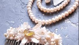Комплект весільний чи святковий з натуральних персикових перлів