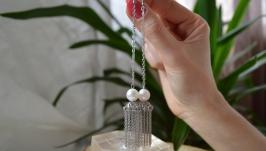 Серьги - цепочки  стальные с белым жемчугом ′Белая медуза′