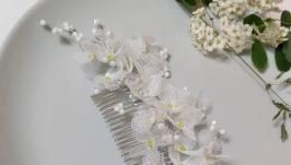 Свадебное украшение для волос.Свадебный гребень.Веточка в прическу
