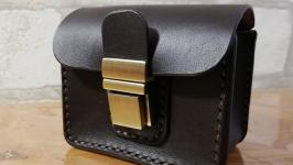 Кожаная поясная сумкачехол для автоключей (автосигнализации). Ручная работ