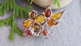 Брошь янтарь в серебре Букет цветов