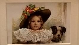 Вышитая открытка Девочка с собакой