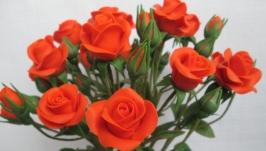 Букет кустовых роз из холодного фарфора.Ручная работа.