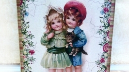 Пенал-шкатулка ′Детки′ винтаж