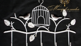 Вешалка кованая Птички с клеткой