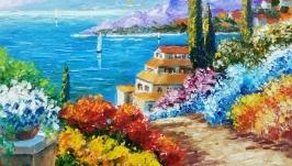 Картина маслом ′Море зовет 2′ южный пейзаж