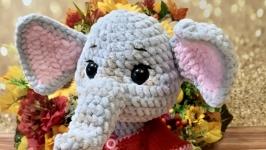Мягкая плюшевая игрушка вязаный слон слоник слоняша