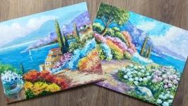 Подарочный комплект Картины маслом морской пейзаж ′Море зовет′ - 2 шт