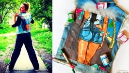 Модная джинсовая куртка с ручной росписью акриловыми красками