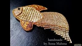 Брошь ручной работы ′Золотая рыбка′
