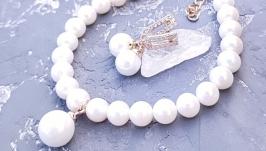 Комплект з натуральних перлів та майорки у позолоті браслет сережки