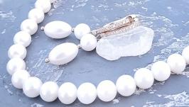 Комплект з натуральних перлів у позолоті намисто та сережки