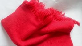 Шарф - палантин красный домотканый