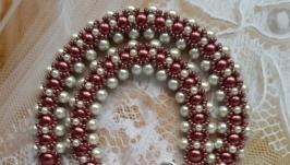Колье, ожерелье цвета марсала из бисера ручной работы