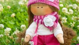 Авторская текстильная кукла ручной работы с длинными волосами