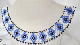 Силянка до вишиванки ′Блакитньо-сині ромби′