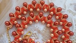 Колье, ожерелье оранжевое из бисера ручной работы