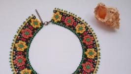 Колье-воротник в этно стиле из бисера ручной работы