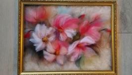 Картина из шерсти ′ Цветочная акварель ′