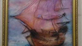 Картина из шерсти ′Корабль мечты′