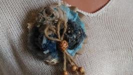 Текстильная брошь Джинсовая фантазия