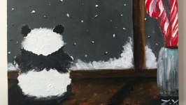 Картина «Первый снег и Панда», зима, леденцы, холст, акрил.