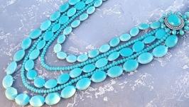 Довге намисто з голубої бірюзи та кристалів п'ятирядне