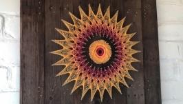 Картина ′Солнце-мандала′ в стиле Стринг-Арт, String-Art