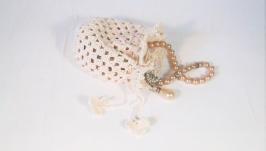 Подарочная свадебная сумочка из хлопка, связанная крючком цвета экрю