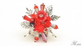 Брошь с цветами и листьями ′Ключи от моего сердца′