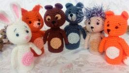Пальчиковые игрушки Лесные зверята Волк Заяц Медведь Лиса Белка Ёжик