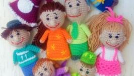 Пальчиковые игрушки вязаные Большая дружная семья