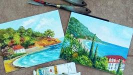 Картины маслом, миниатюры, ′Летний морской пейзаж ′ -2 шт