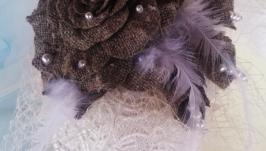Свадебная шляпка -вуалетка в стиле Рустик
