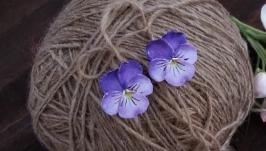 Серьги с цветами  Анютины глазки